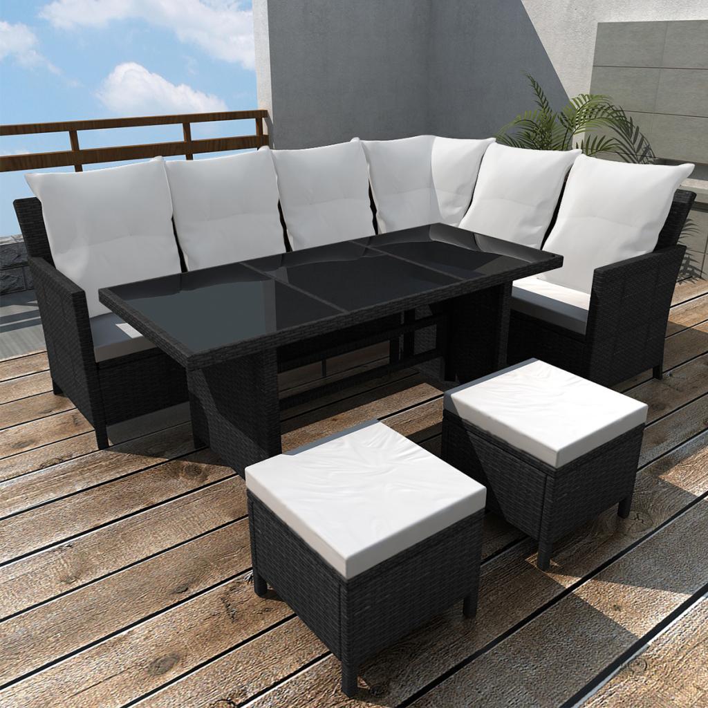Poly Rattan Svart Lounge Set For 8 Personer Sovdags