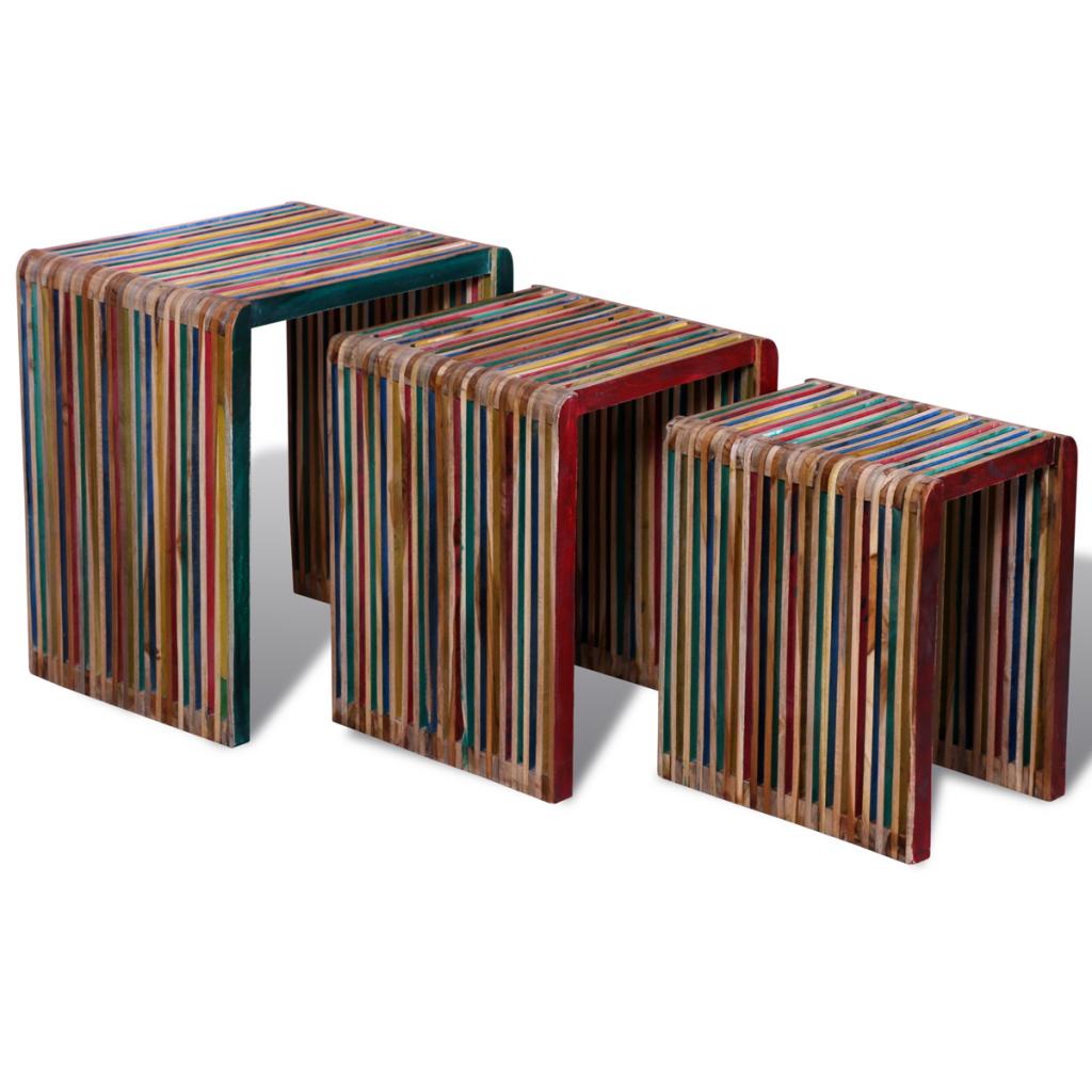 Satsbord i återvunnen teak 3 pack | Sovdags